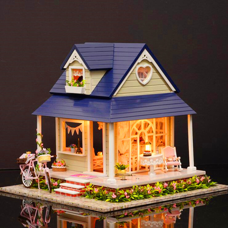 CuteRoom DIY Wooden Dollhouse Miniature With House Furniture Toy Gift For Children Bicycle Angle Kit