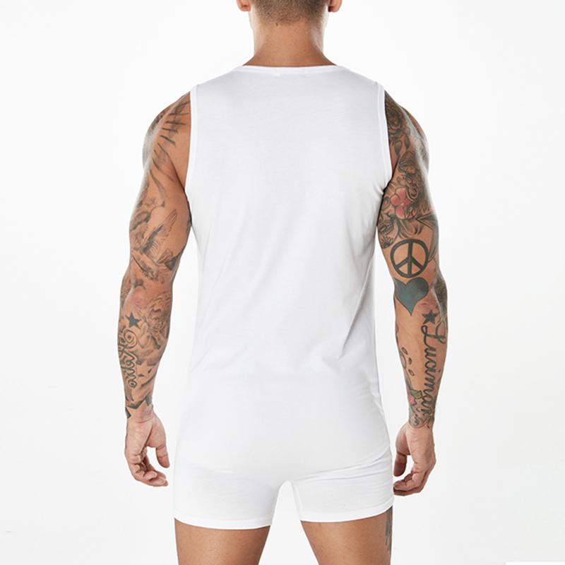 Mens Printing Casual Home Sleepwear Suit Jumpsuit Pajamas