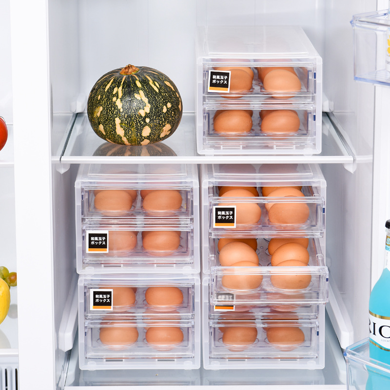 Draw Design Kitchen Egg Storage Rack Refrigerator Freezer Storage Box