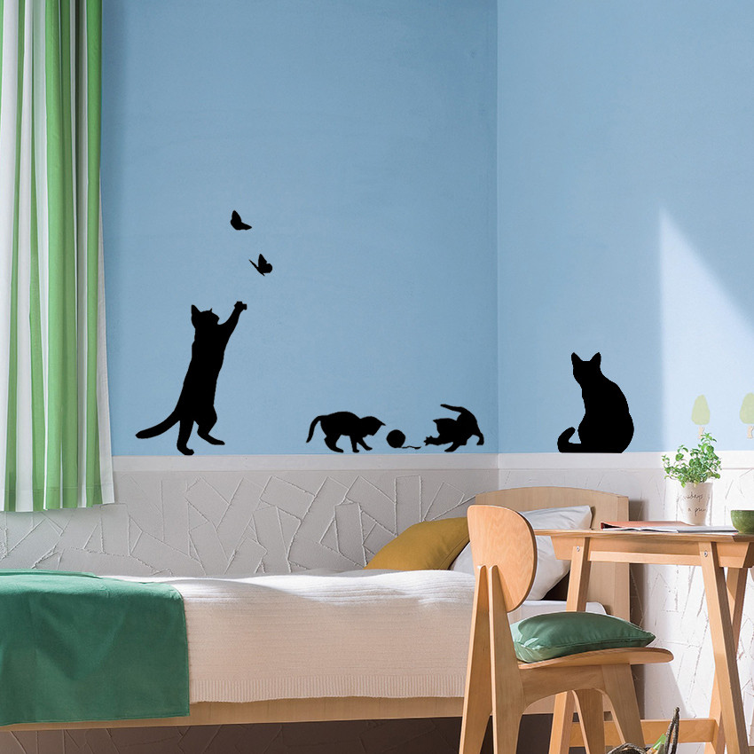Other Gadgets Cat Play Butterflies Wall Sticker
