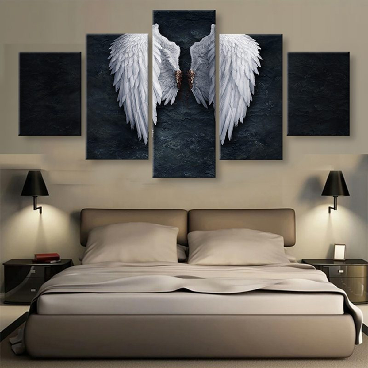 5 Panels BANKSY ANGEL WINGS Print Picture Art Pictures Canvas Wall Art Paintings Unframed for Home Decorations