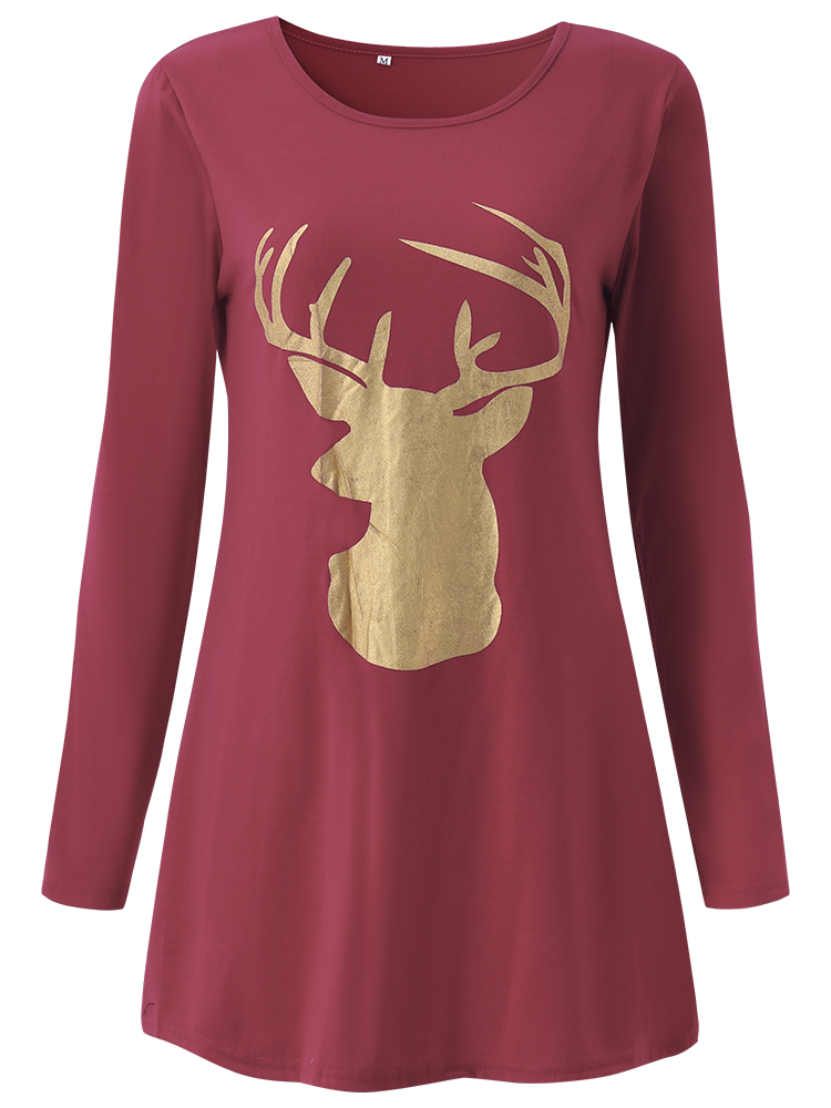 Casual Women Printing Christmas Deer Long Sleeve T-Shirt