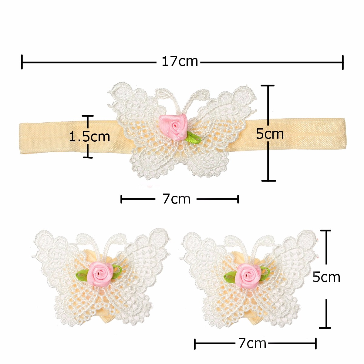 Newborn Baby Infant Butterfly Prop Photography Hair Band Soft Lace Headdress Wear Foot Flower Set