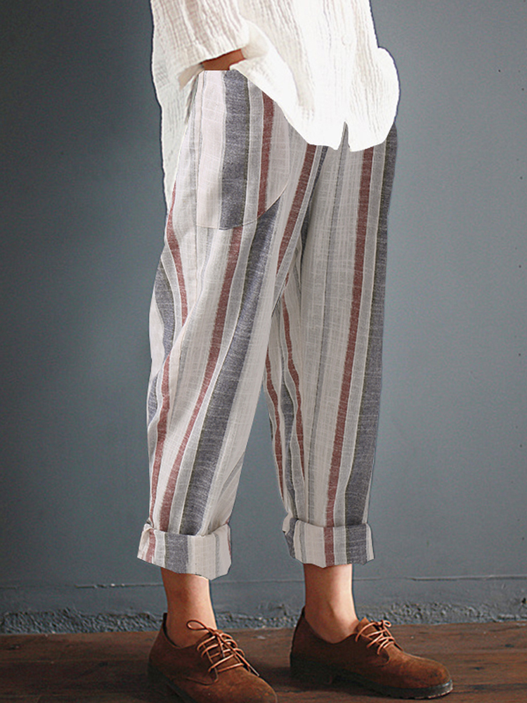 Cotton Retro Elastic High Waist Harem Pants