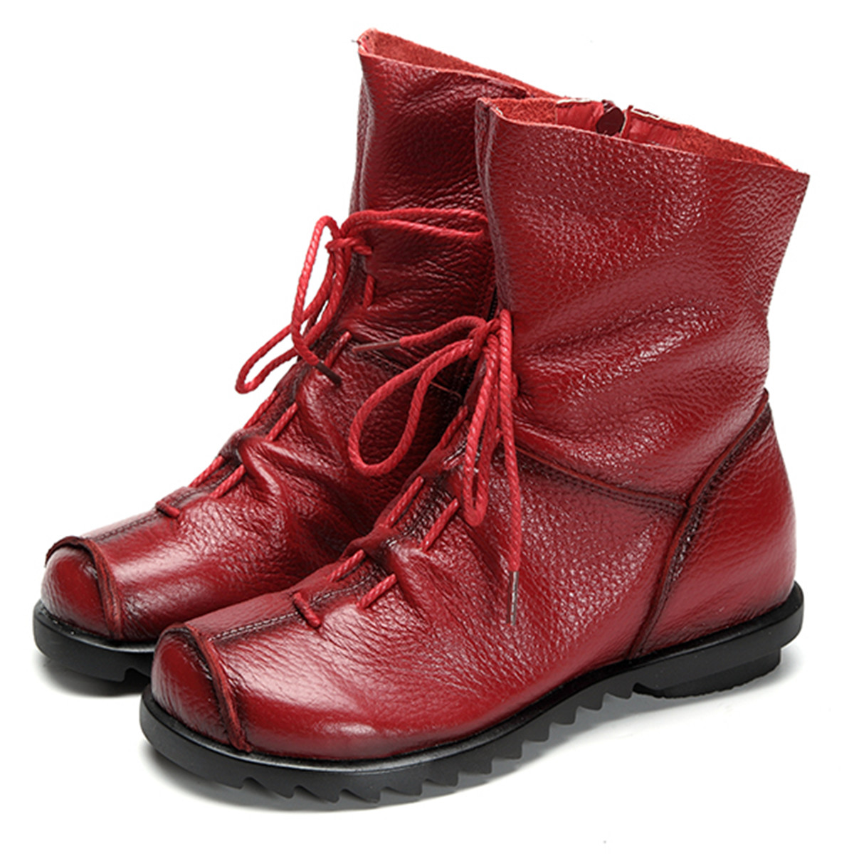 SOCOFY Lace Up Leather Ankle Boots