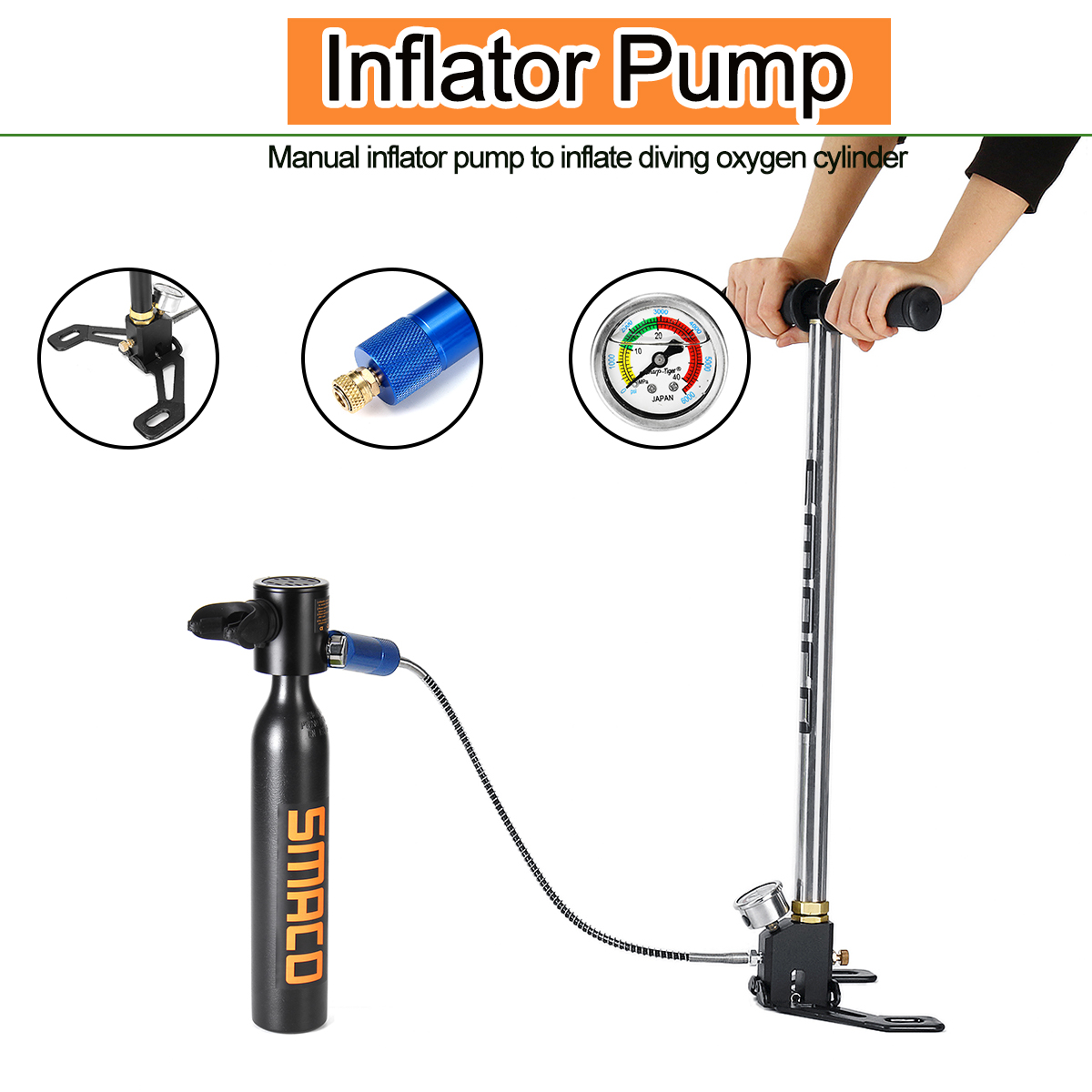 SMACO 0.5L Portable Diving Reserve Air Tank Set Hand Pump Oxygen Cylinder Mini Operated Pump