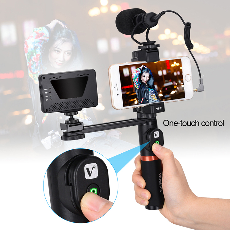 VIEWFLEX VF-H4 Bluetooth Electronic Video Grip Stabilizer with Smartphone Clamp Remote Control Handle Connecting Rod for iPhone for Samsung for Huawei Smartphones