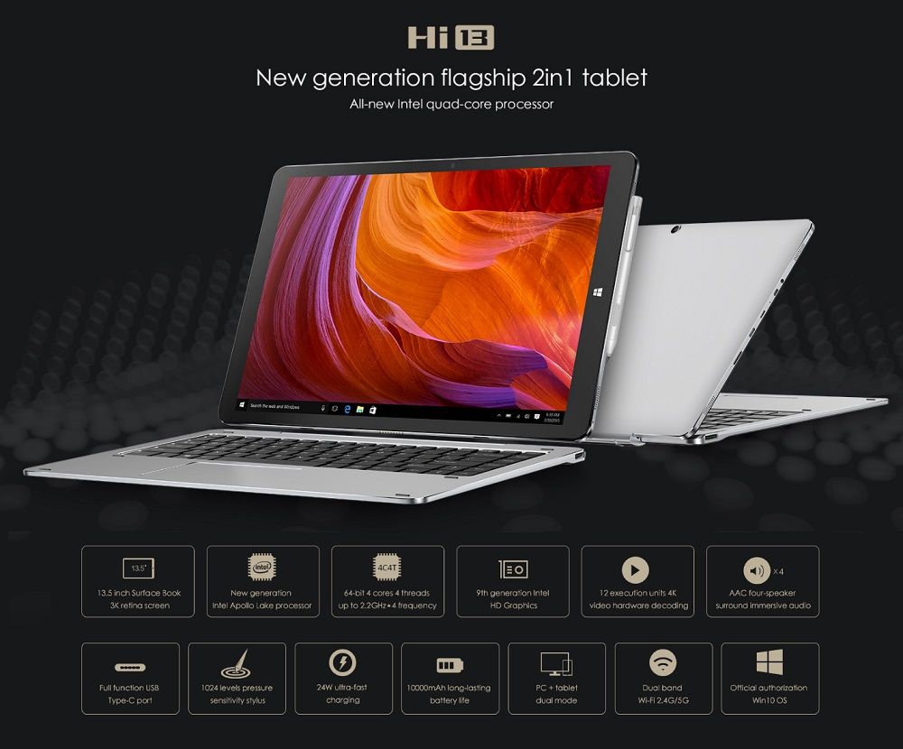 Chuwi Hi13 64GB Intel Apollo Lake Celeron N3450 Quad Core 13.5 Inch Windows 10 Tablet PC