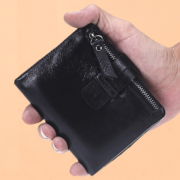 Genuine Leather Wallet 7 Card Slots Card Holder Cowhide Slim Coin Purse For Women Men