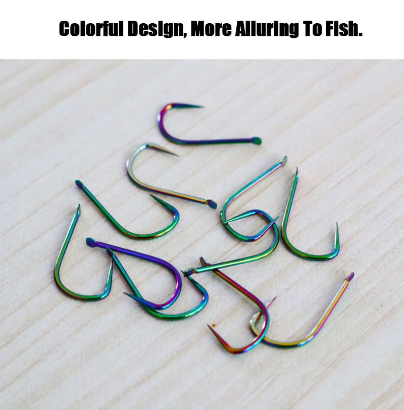 HP-201121 30pcs 6.4/8.2/10mm Colorful 100c Carbon Steel Fishing Hook Colorful No Barb Japan Fly Fishing Hook
