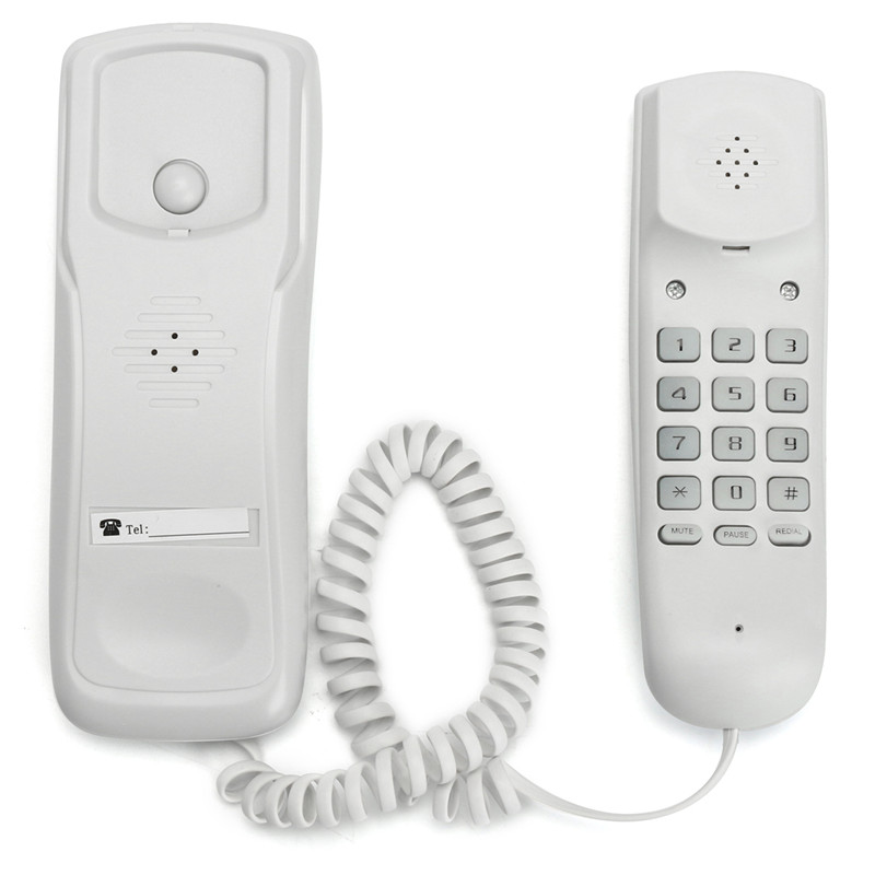English Version WHITE Wall Mount Home Corded Phone Telephone Business Home Office Desktop Phone