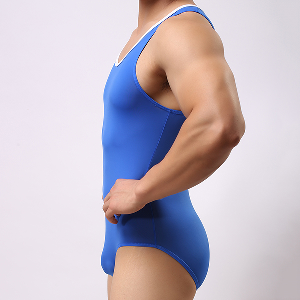 Mens Sexy Indoor Fitness Gym Sport Bodysuit Onesie Conjoined Swimwear Jumpsuits