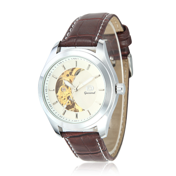 Gucamel CT02 Skeleton PU Leather Band Mechanical Men Watch