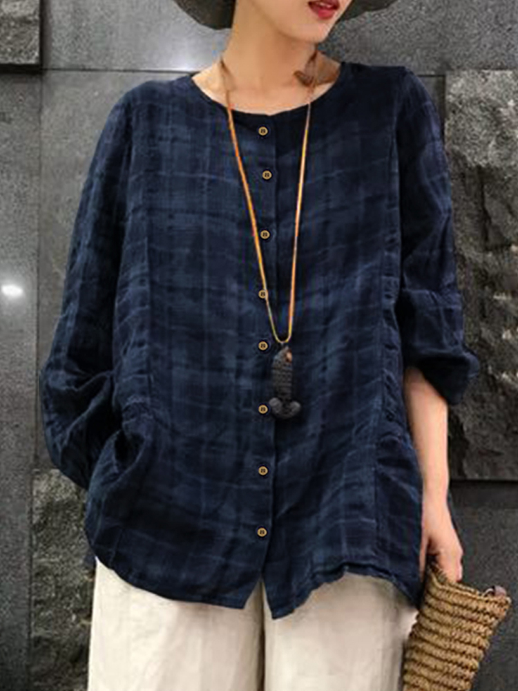 Women Vintage Loose Crew Neck Long Sleeve Plaid Blouse