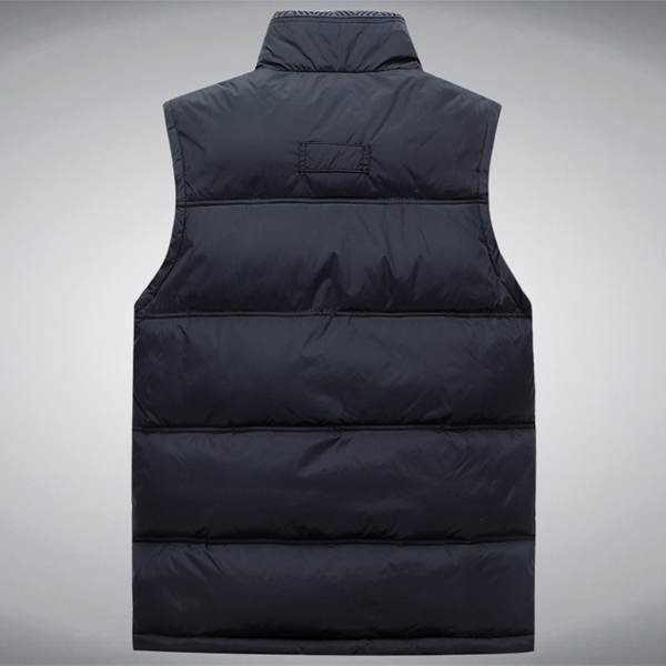 Winter Thick Warm Sleeveless Dad Vest Stand Collar Zipper Pure Color Jacket