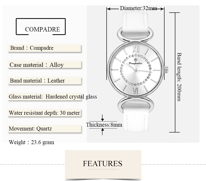 COMPADRE 3003L Life Waterproof Leather Band Women Watch Fashionable Casual Style Quartz Watch