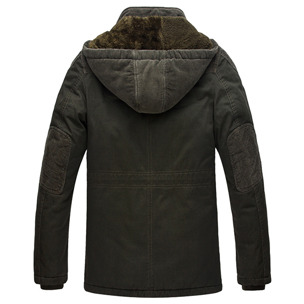 Mens Winter Velvet Liner Plus Thick Warm Washed Cotton Multi Pockets Hooded Outdoor Parka Jacket