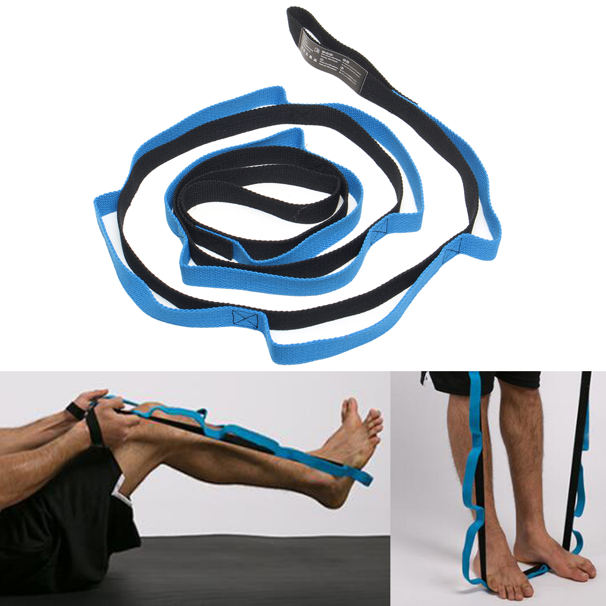 10 Loops Sport Arms Legs Back Shoulders Fitness Foldable Yoga Stretch Strap