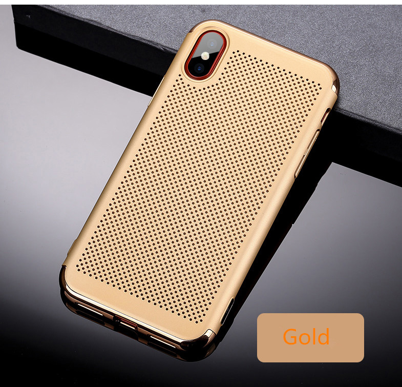 3 in 1 Double Dip Plating Mesh Dissipating Heat Hard PC Cover Case for iPhone X