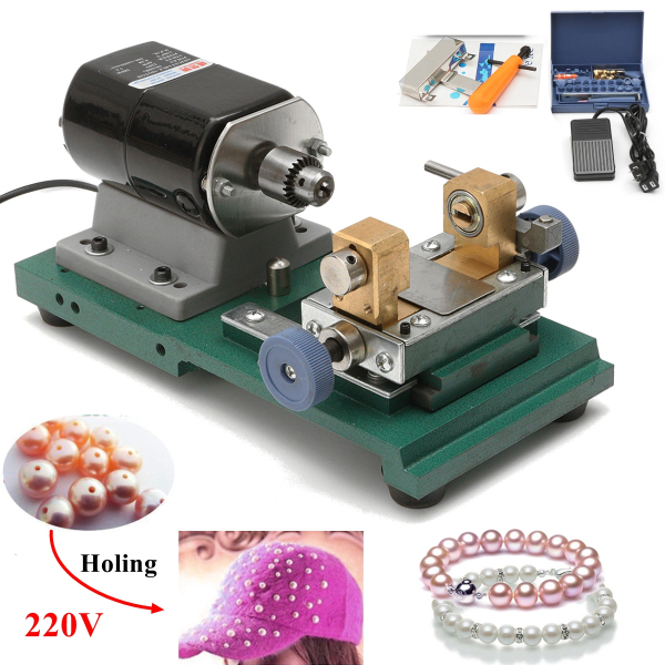 Raitool™ 220V 280W Mini Lathe Beads Machine Polish Woodworking DIY Tools Punch Tools