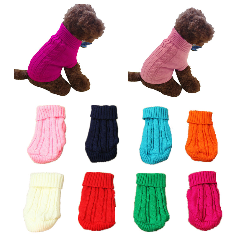 Pet Dog Cat Clothes Winter Solid Warm Sweater Knitwear