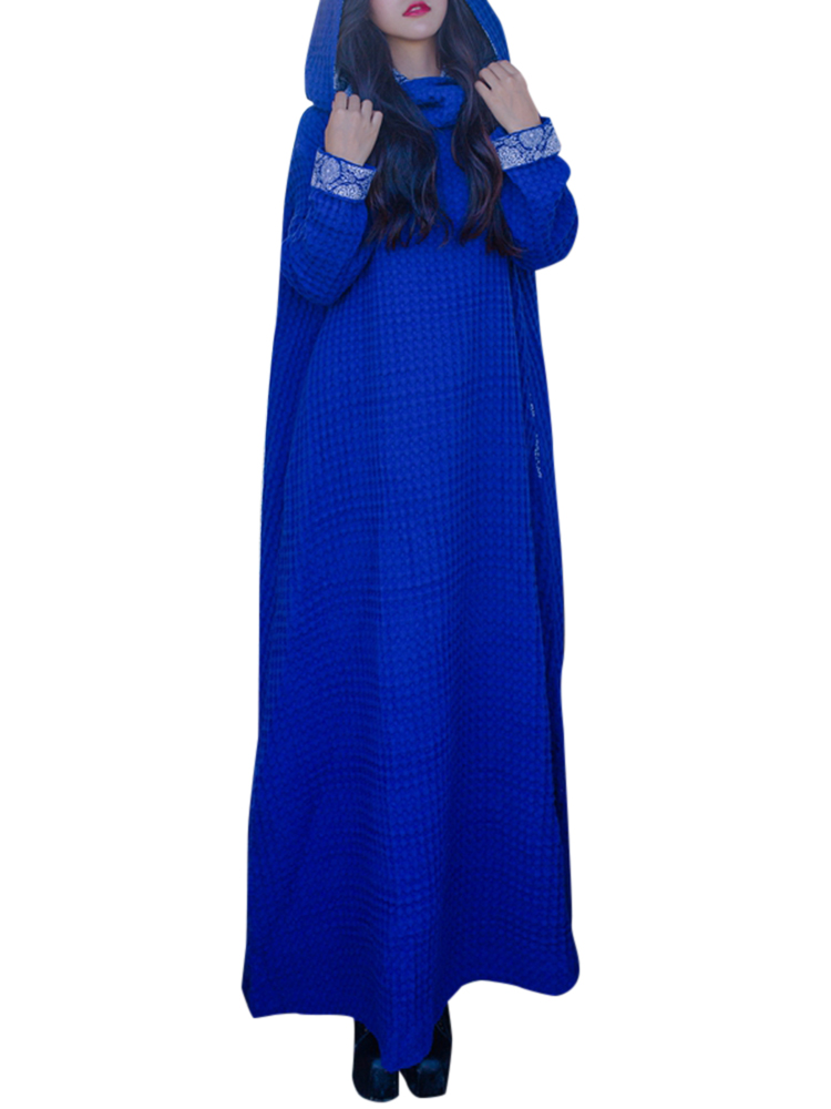 Ethnic Hooded Pure Color Baggy Long Maxi Dress