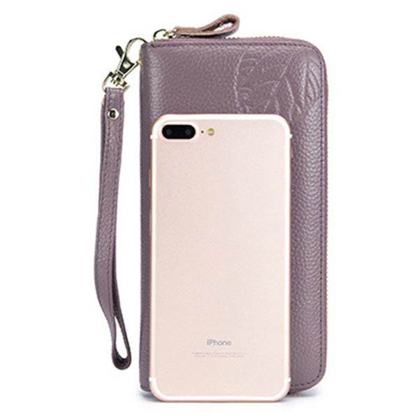 RFID Genuine Leather 6inch Phone Bag Long Wallet
