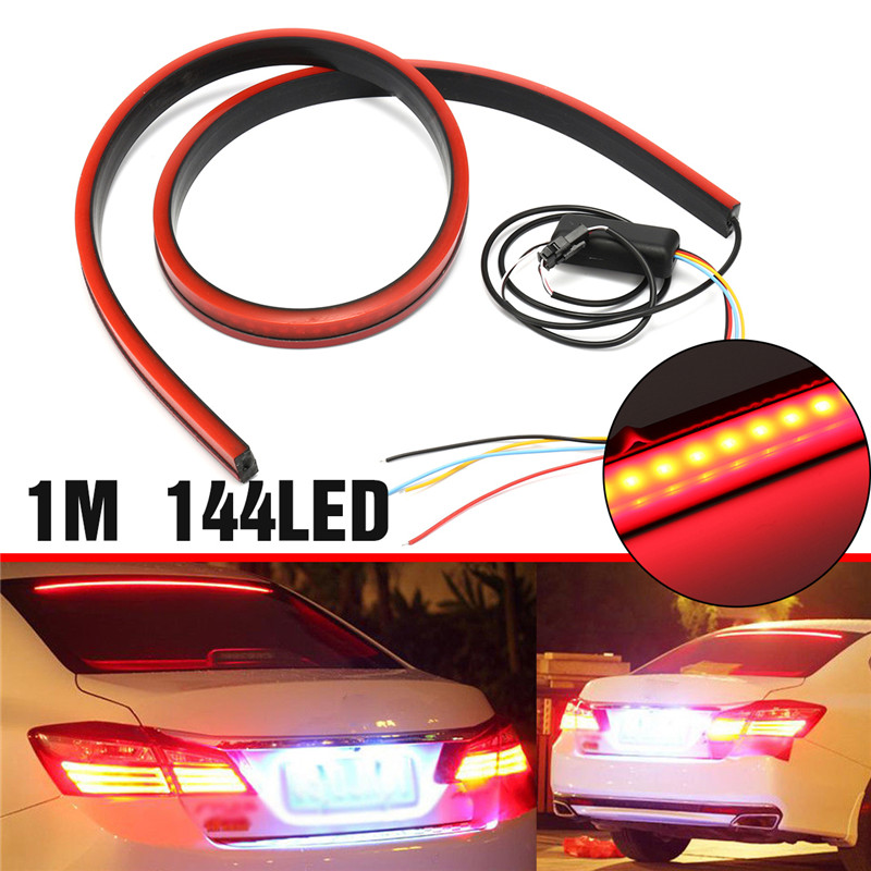 1M 30W 144LED Car Rear Windshield Third Brake Lights Warning Lamp Waterproof
