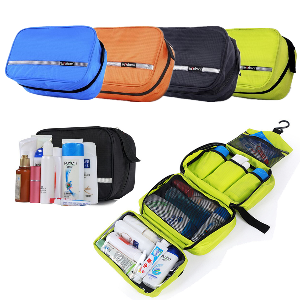 IPRee™ Portable Travel Toiletry Wash Bag Waterproof Cosmetic Hanging Storage Pouch Organizer
