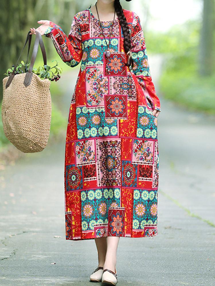 Ethnic Floral Print O-neck Loose Dress
