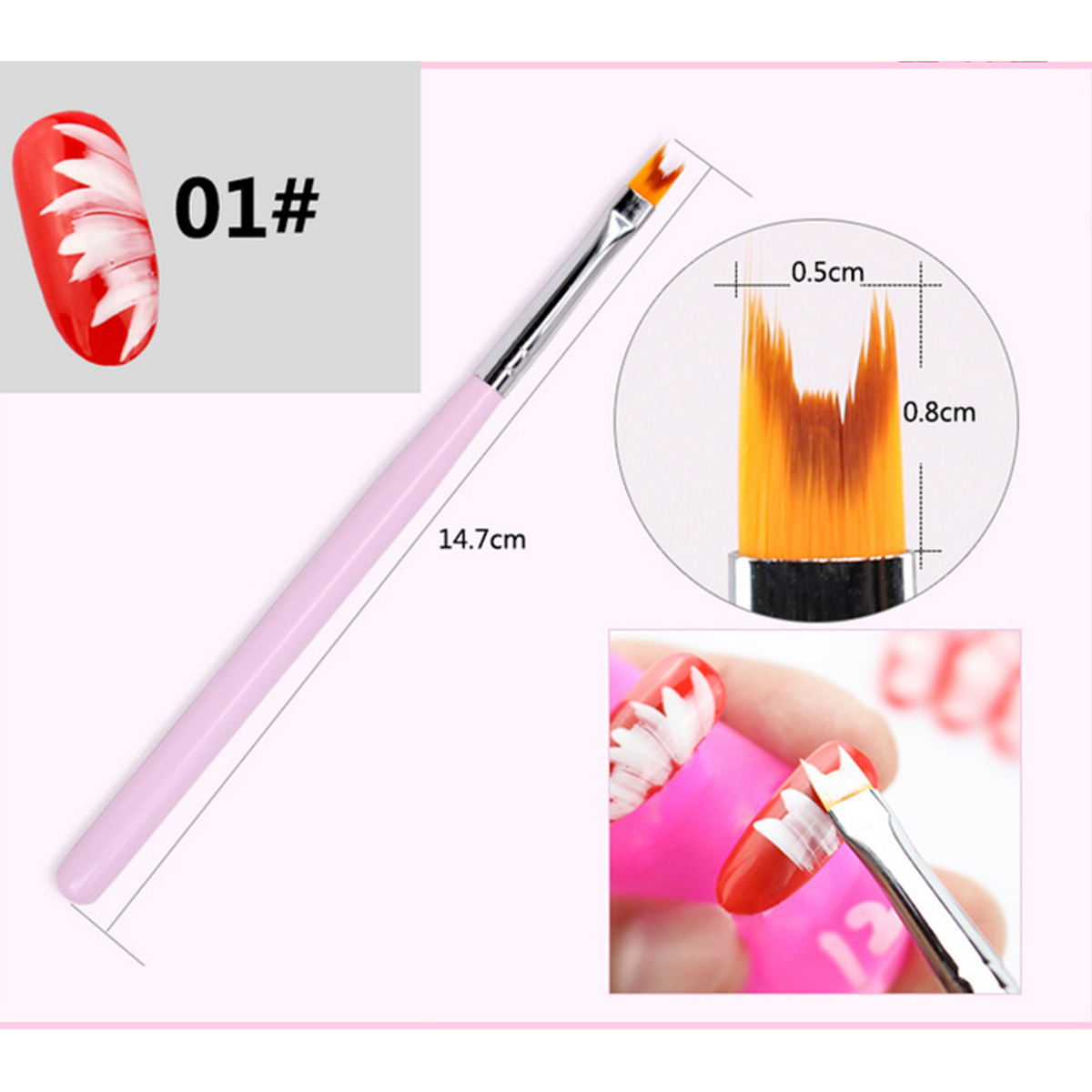 8pcs/set Acrylic Painting Brush Nail Art Tool