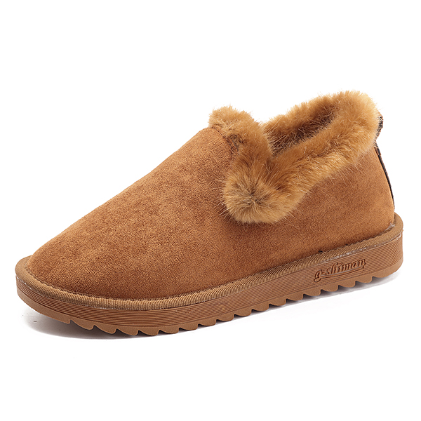 Women Cotton Shoes Keep Warm Slip On Fluffy Casual Flats