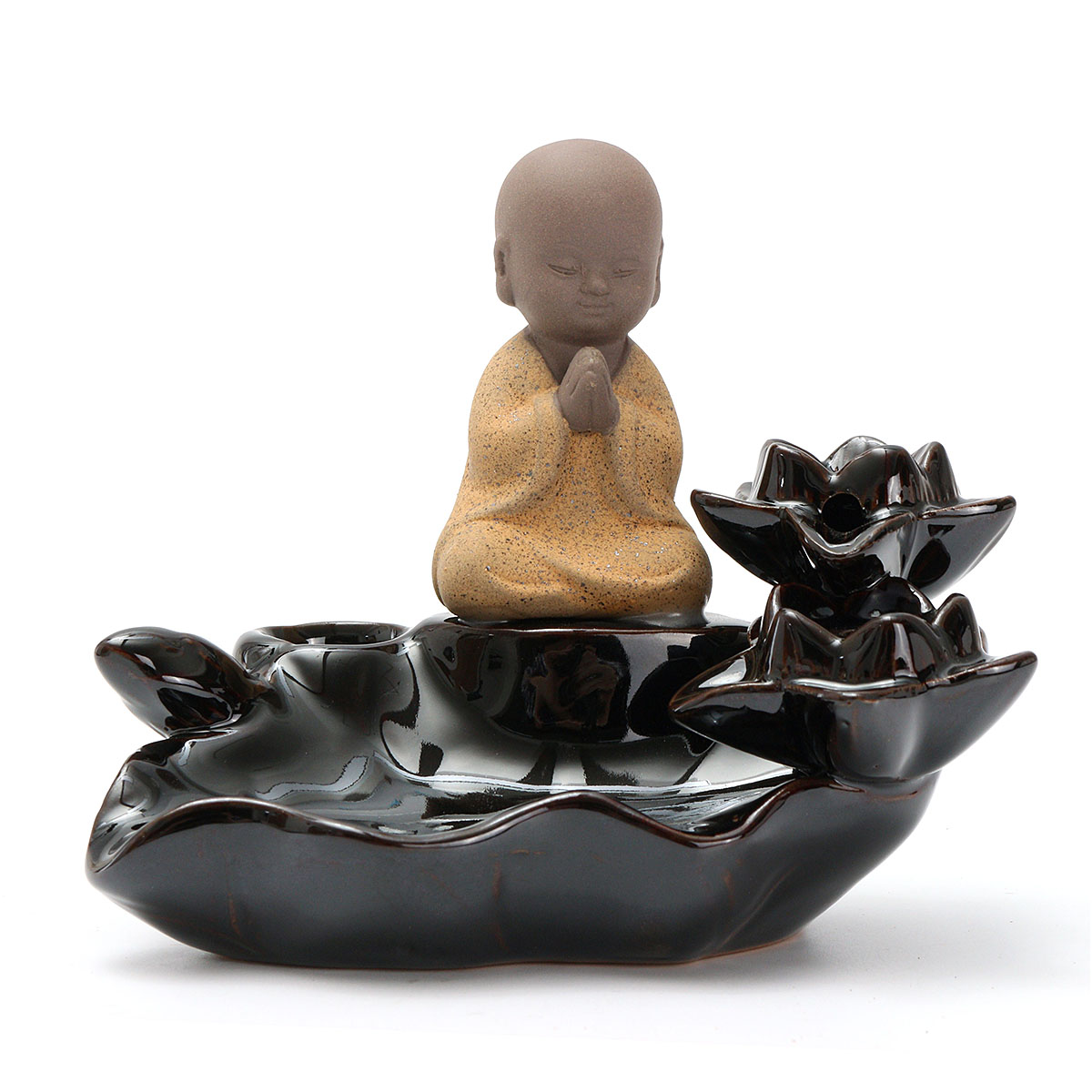 Lotus Leaf Little Monk Backflow Incense Burner Censer H