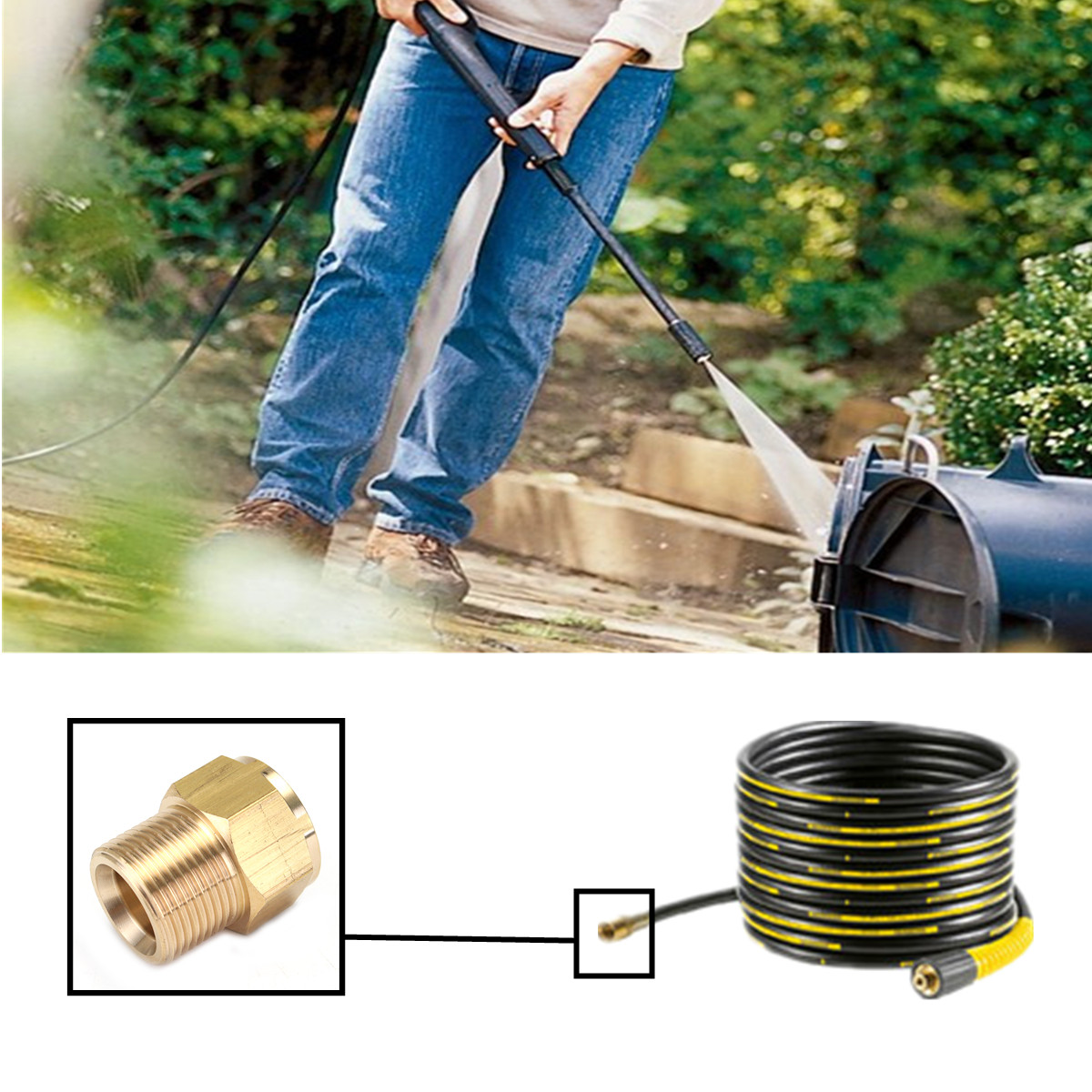 M22 Brass Pressure Washer Adapter Male to Female Outlet Hose Coulper Fitting