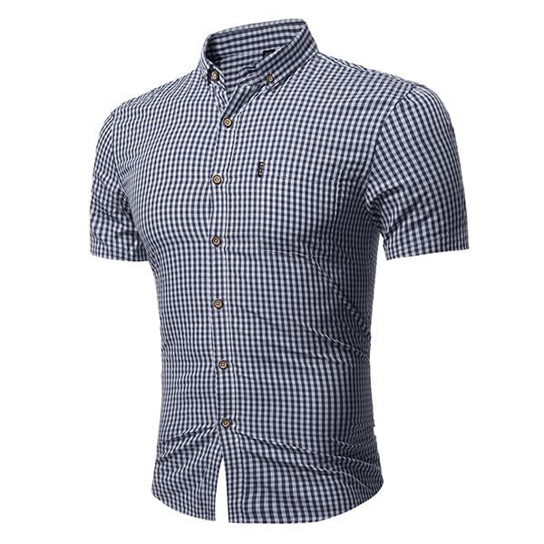 Mens Slim Fit Summer Classic Turn-down Color Small Plaid Printing Short Sleeve Casual Shirt