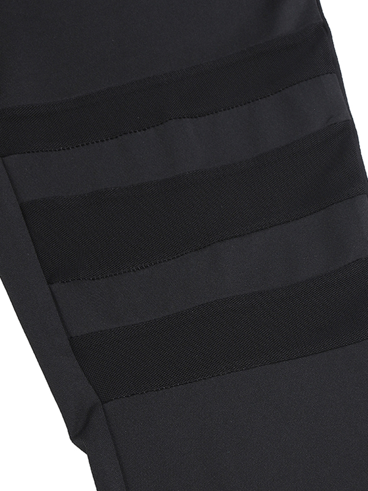 Black Women Mesh Insert Yoga Running Leggings
