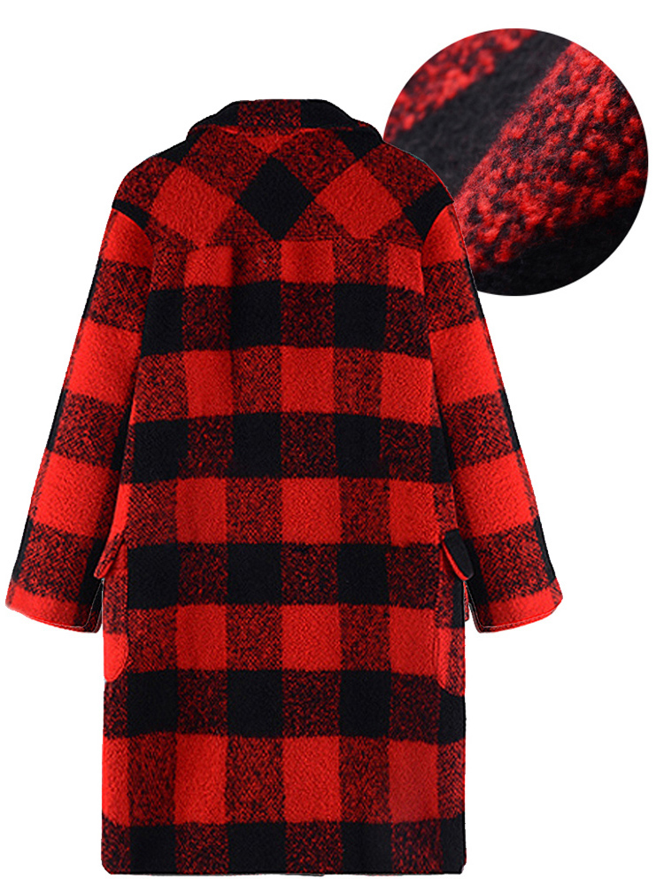 Plus Size Vintage Plaid Long Loose Woolen Coat