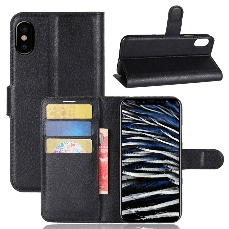 Litchi Texture Card Slot Bracket Flip Leather Case For iPhone X