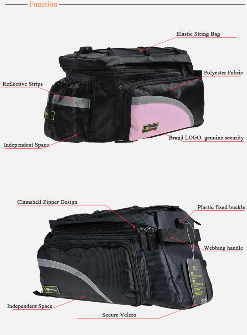 ROCKBROS 25L Waterproof Cycling Mountain Bike Bicycle Bag Rear Carrier Bags Rear Pack Trunk Pannier Package Larger Capacity With Rain Cover