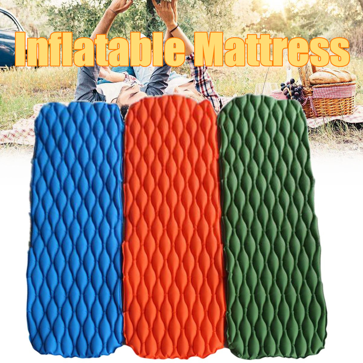 Outdoor Camping Portable Inflatable Air Mattresses Single Sleeping Moisture-proof Mat Pad
