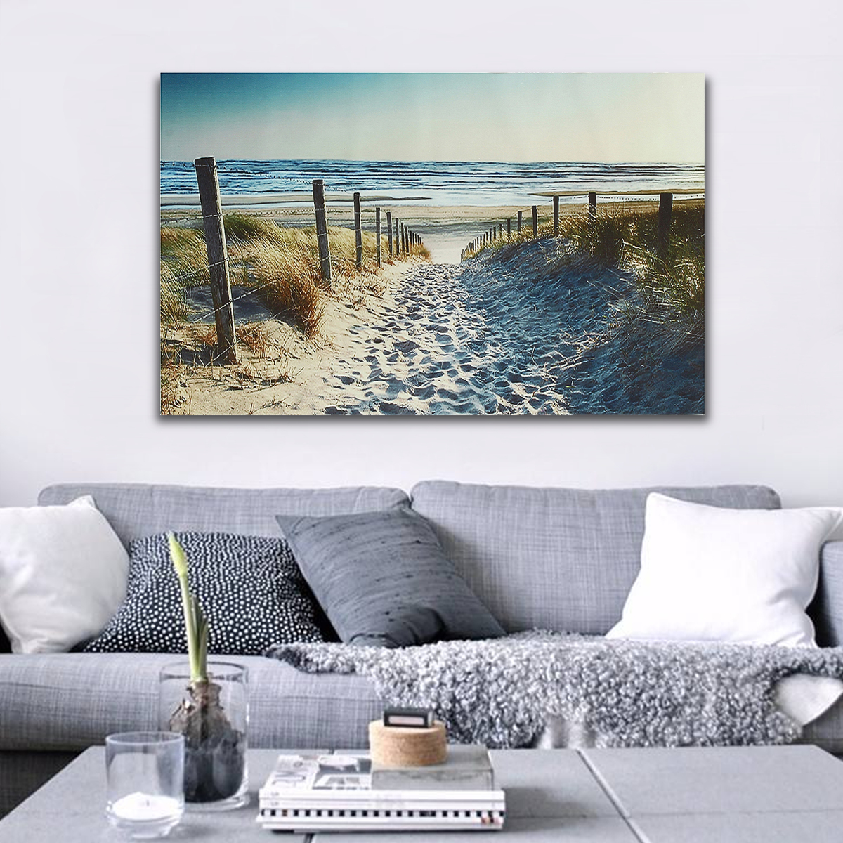 Ocean Beach Footprint Canvas Prints Paintings Wall Art Home Decor Unframed