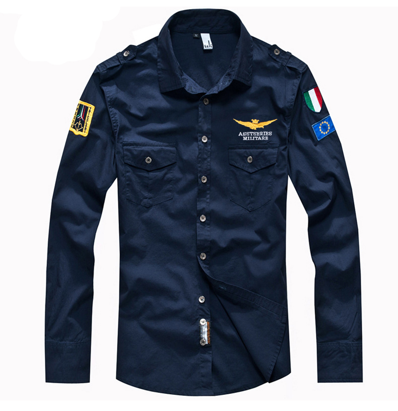 ASSTSERIES Embroidery Epaulets Military Cotton Work Shirts