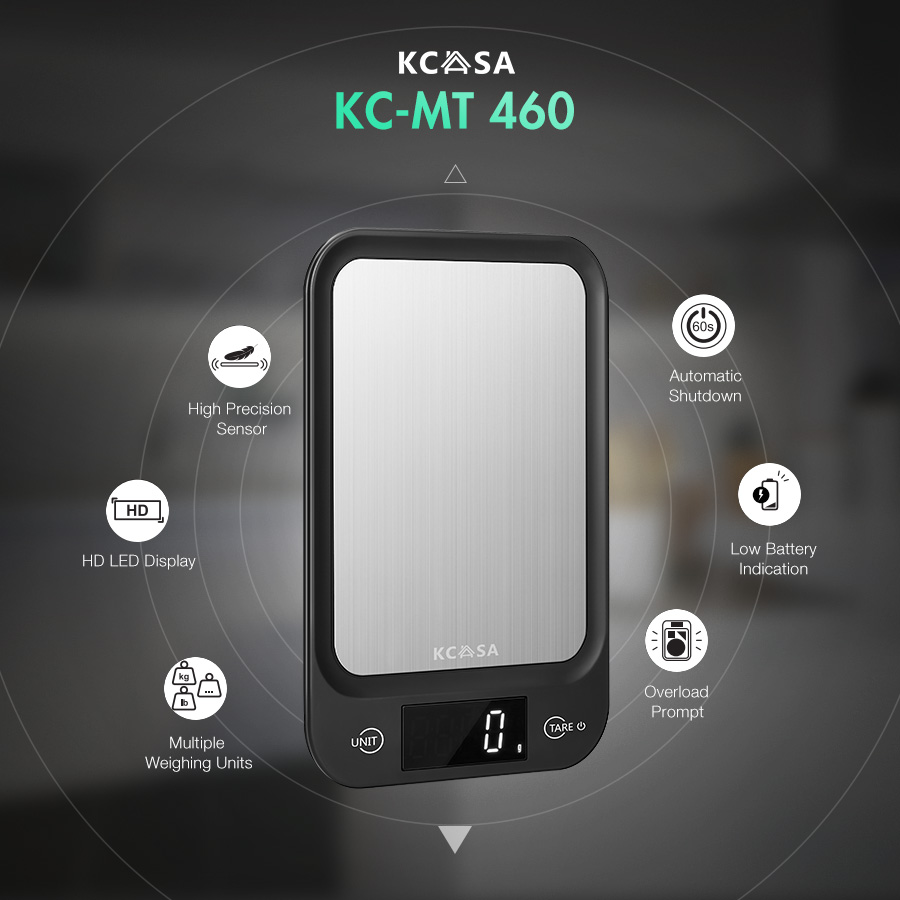 KCASA KC-MT460 Multifunction Digital Kitchen Scale Brand New Design 5 KG/1G High Definition LED Machinery Display Watch Jewelry Gold Scale Food Balance Modern Kitchen Appliance