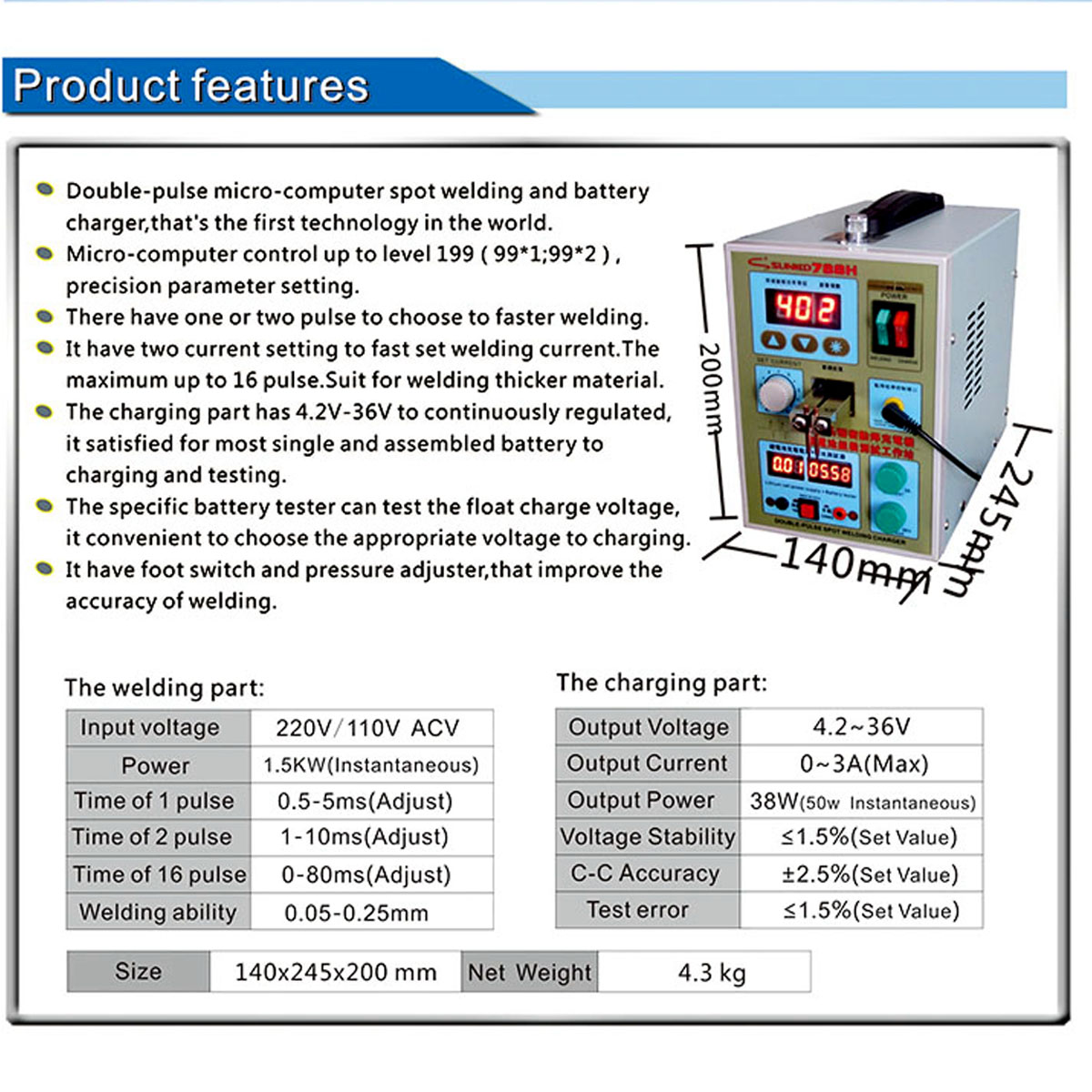 Sunkko S788 Pulse Spot Welding Machine Rechargable with LED Battery Testing Charging Function