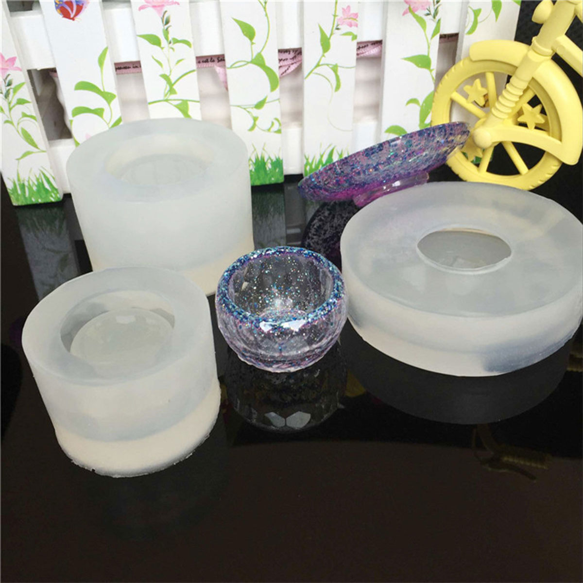 3pcs Clear Silicone DIY Tea Bowl Shape Mold For Epoxy Resin Jewelry Craft