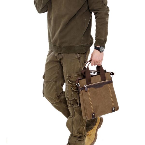 Canvas Waterproof Vintage Crossbody Bag Shoulder Bag Leisure Business Handbag For Men