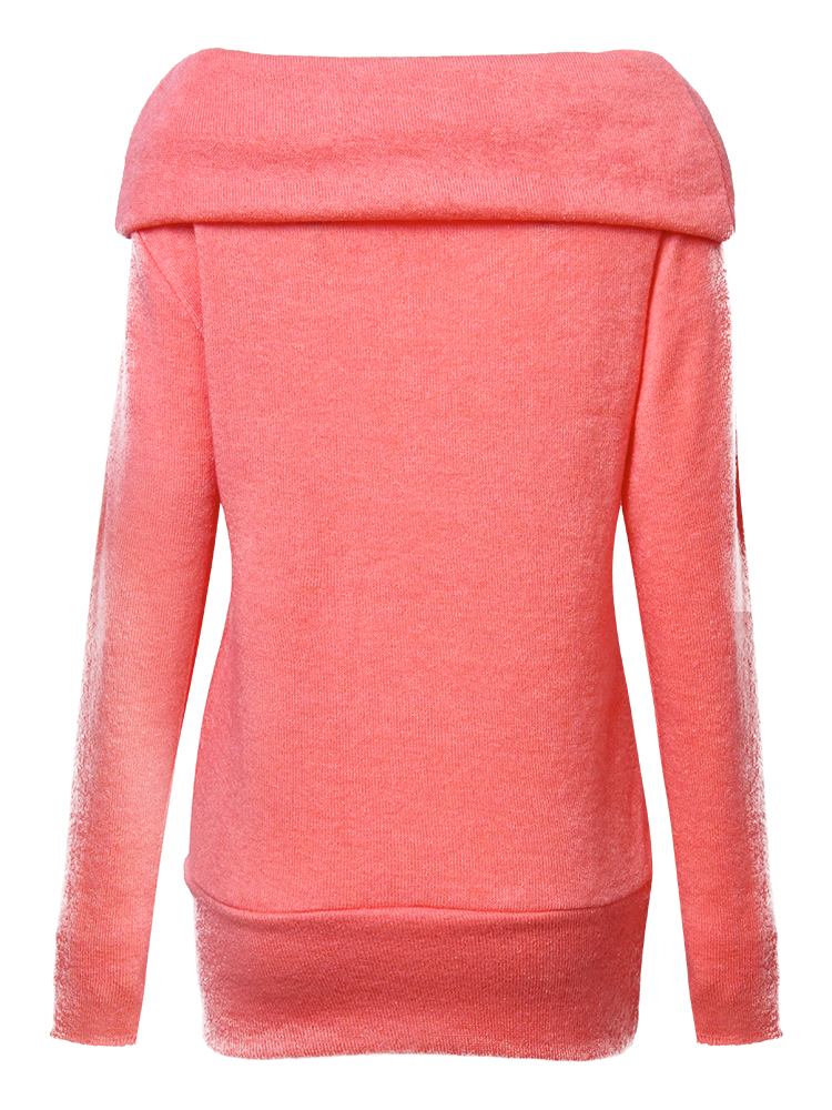 Casual Long Sleeve Pile Collar Pure Color Women Sweaters