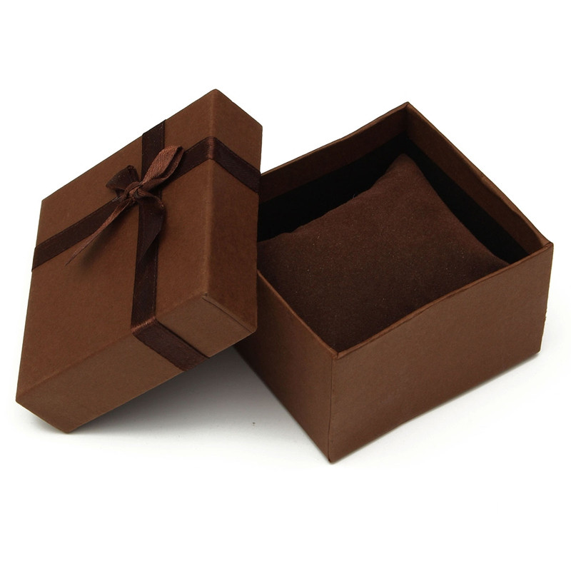 Durable Square Shaped Present Gift Paper Coffee Box For Jewelry Watch Box Packing With Pillow