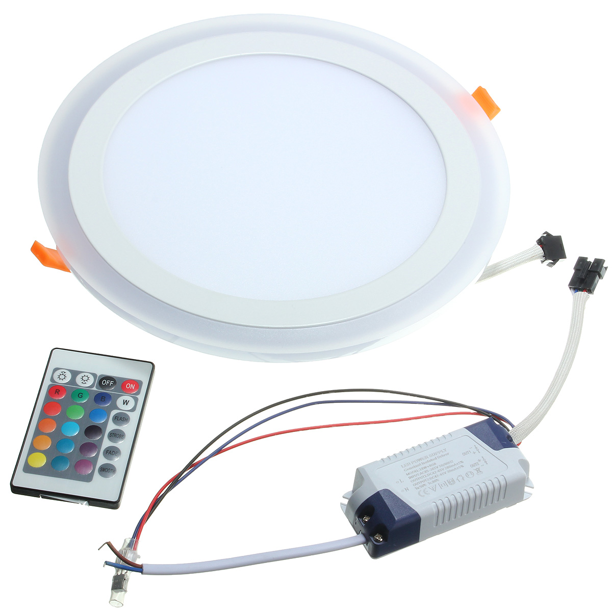 18W RGB Dual Color LED Recessed Ceiling Round Panel Down Light Lamp AC85-265V