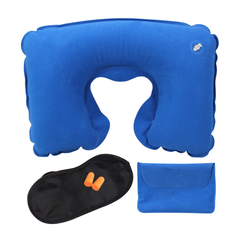 Honana WX-A1 Car Travel Inflatable Neck Rest Cushion U Pillow Eye Mask Ear Plugs With Storage Bag
